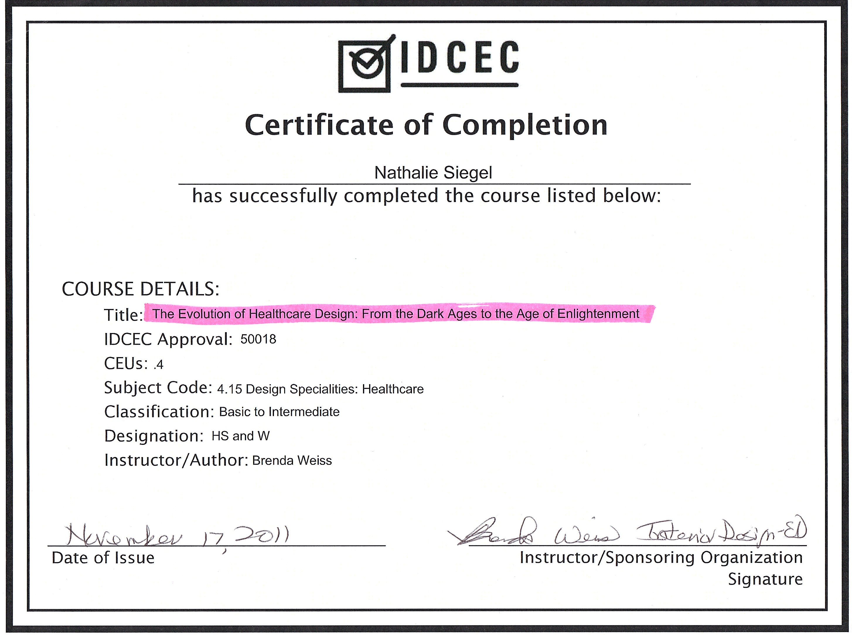 4 Hour Course For Healthcare CEUs In AIA NCIDQ Sponsored By IDCEC Interior Design Continuing Education Council